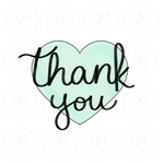 Thank You Heart Cookie Cutter - Periwinkles Cutters LLC