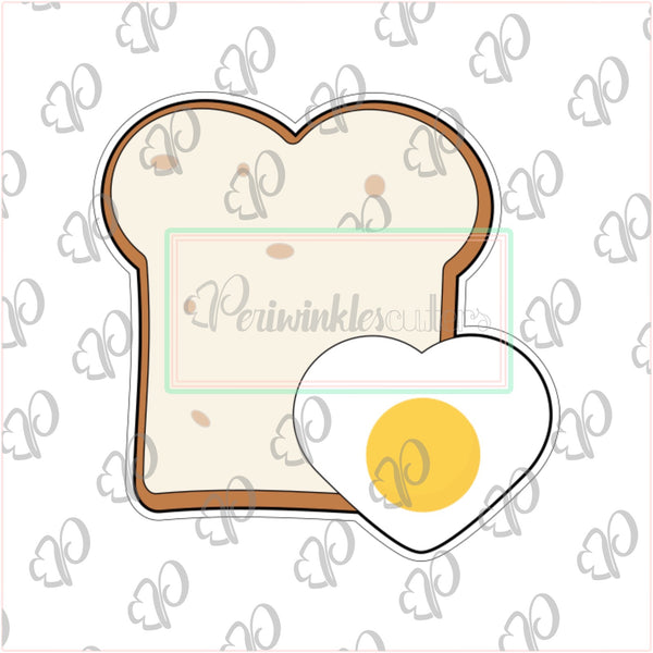 Toast with Egg Heart Cookie Cutter - Periwinkles Cutters LLC