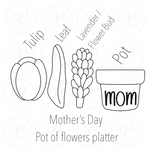 Mothers Day Pot Flower Platter Cookie Cutter Platter Set - Periwinkles Cutters LLC