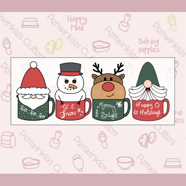 Christmas Characters Mugs 4 Pieces Set Cookie Cutter