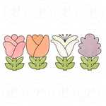 Flowers Cookie Cutter Set B - Danish Rose - Tulip Calypso - Lilly - Liatris - Cookie Cutter - Periwinkles Cutters LLC