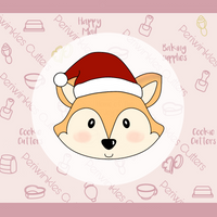 Fox with Santa's Hat