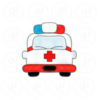 Ambulance Front View Cookie Cutter - Periwinkles Cutters LLC