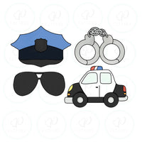 Police Dad Set Cookie Cutter - Periwinkles Cutters LLC