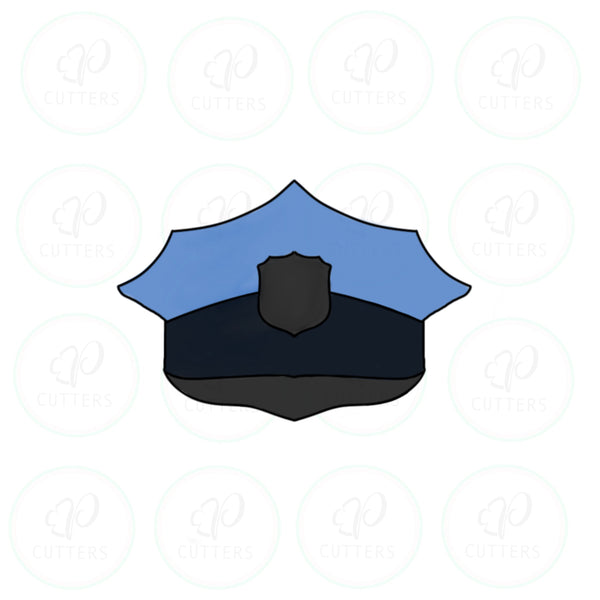 Police Peaked Cap Cookie Cutter - Periwinkles Cutters LLC