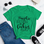 Pumpkin, Football and Cookies Please Women's short sleeve t-shirt