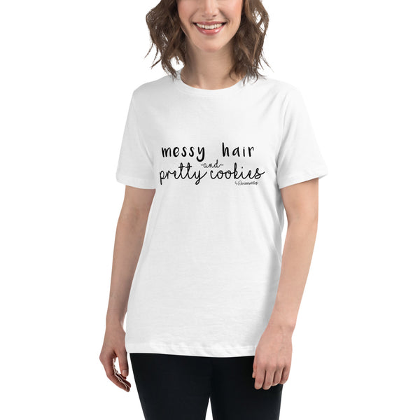 Messy Hair and Pretty Cookies Relaxed T-Shirt - Periwinkles Cutters LLC