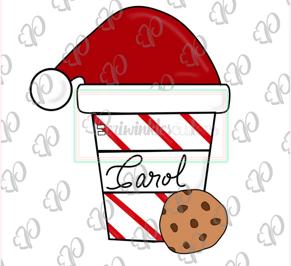 Santa's Latte Cup with Cookie - Periwinkles Cutters LLC