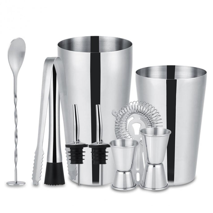10 Piece Set Stainless Steel Cocktail Shaker