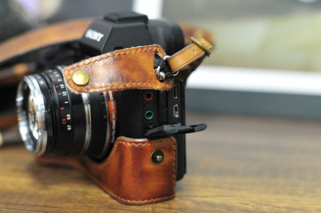 Sony A7 / A7R / A7S Series Leather Camera Case - Half Case + Strap - kaza-deluxe