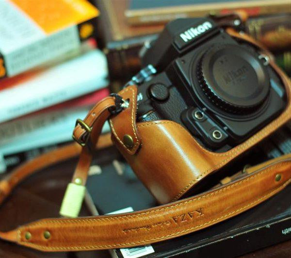 Nikon DF Leather Camera Case - Half Case + Strap - kaza-deluxe
