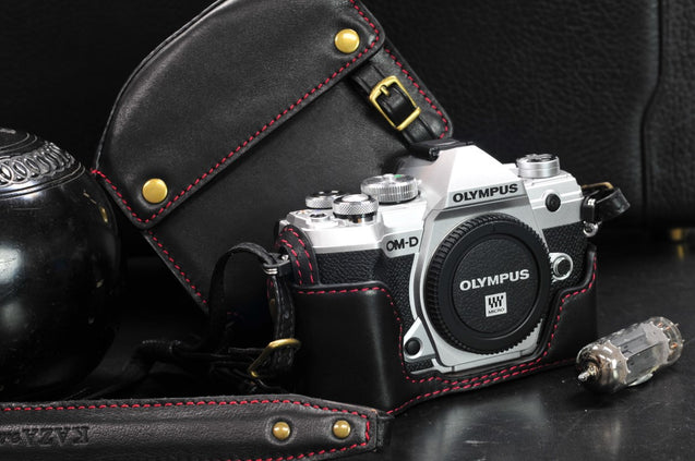 Olympus E M5 Mark III Leather Camera Case - Combo Set - kaza-deluxe
