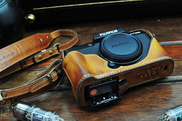 Fujifilm X T100 Leather Camera Case - Half Case + Strap - kaza-deluxe