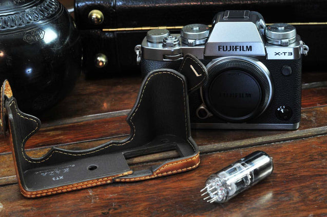 Fujifilm X T3 Leather Camera Case - Half Case - kaza-deluxe