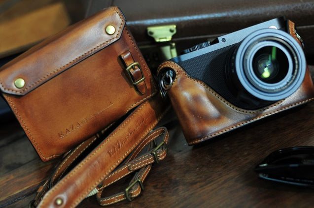 Leica Q Leather Camera Case - Combo Set - kaza-deluxe