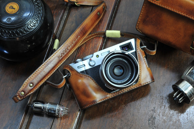 Fujifilm X 100V Leather Camera Case - Half Case + Strap - kaza-deluxe