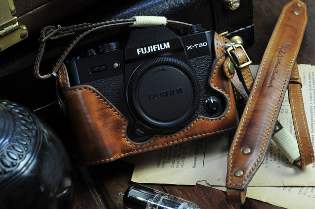 Fujifilm X T30 Leather Camera Case - Half Case + Strap - kaza-deluxe