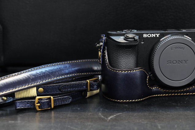 Sony A6500 Leather Camera Case - Half Case + Strap - kaza-deluxe