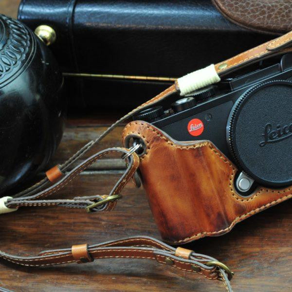 Leica CL Leather Camera Case - Half Case + Strap - kaza-deluxe
