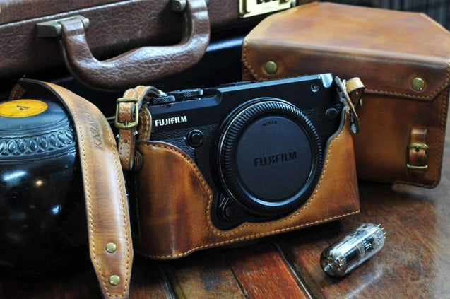 Fujifilm GFX50R Leather Camera Case - Half Case + Strap - kaza-deluxe