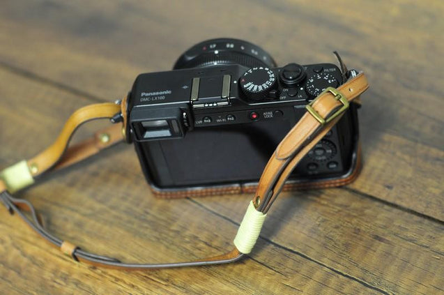 Panasonic LX100 Leather Camera Case - Half Case + Strap - kaza-deluxe