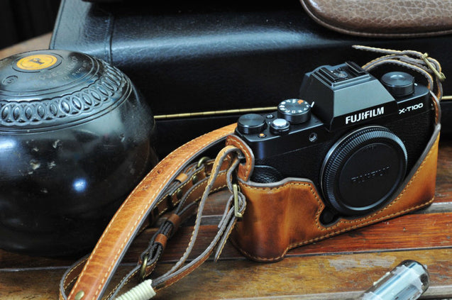 Fujifilm X T100 Leather Camera Case - Combo Set - kaza-deluxe