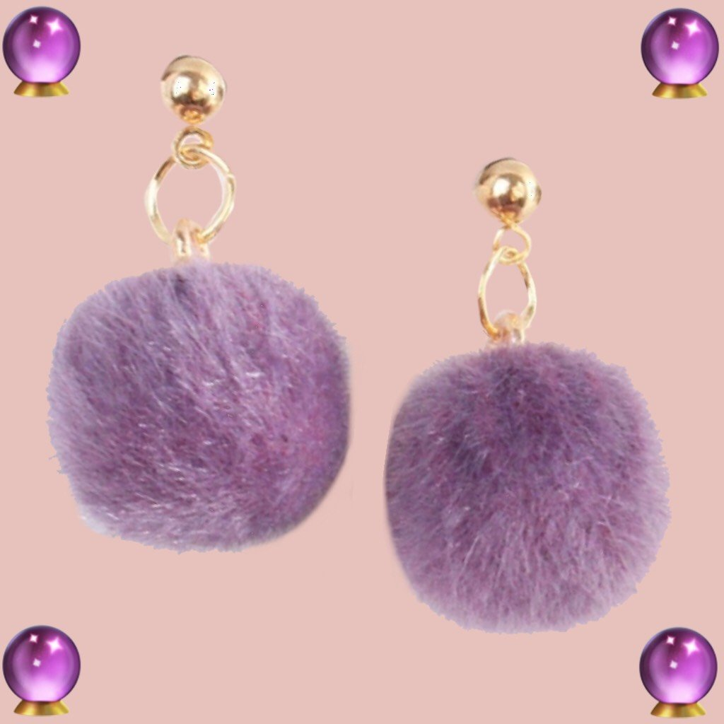 Violet Furry Velvet Earrings