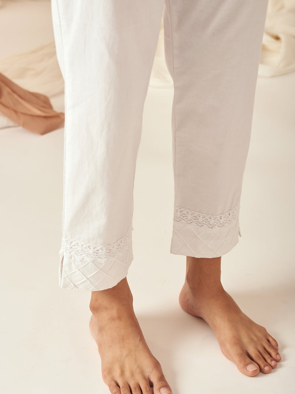 Lace Pintucked Pants