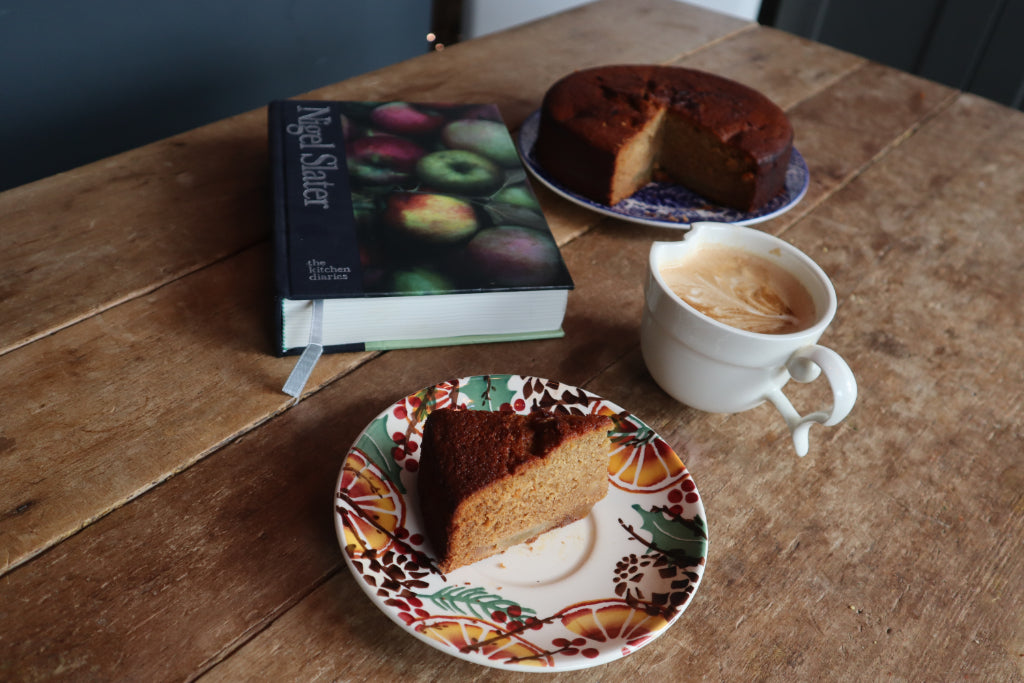 how to create a hygge kitchen on a budget, rustic table cake, bramble and fox, uk, hygge, shop, gifts