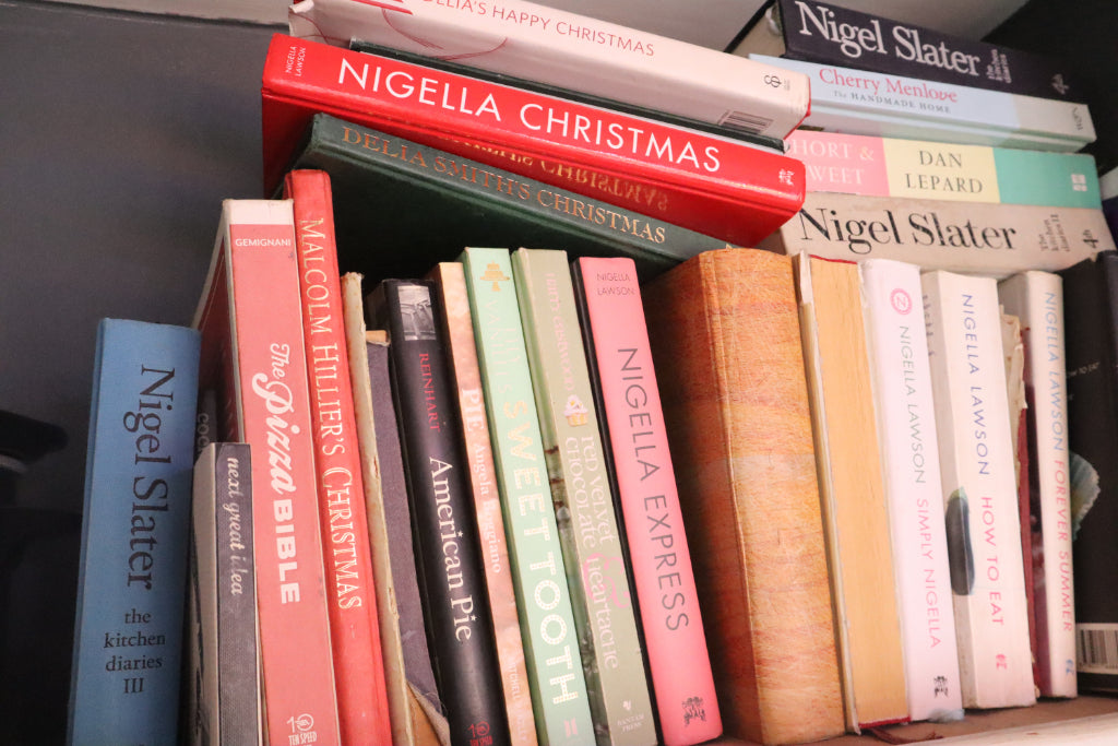 how to create a hygge kitchen on a budget, cosy kitchen, cookery books, bookshelf, bramble and fox, uk, hygge, shop, gifts