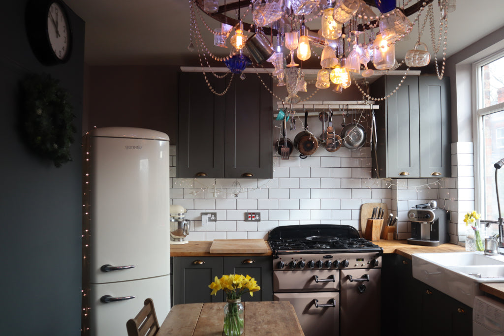 how to create a hygge kitchen on a budget, bramble and fox, uk, hygge, shop, dark grey kitchen, downpipe kitchen