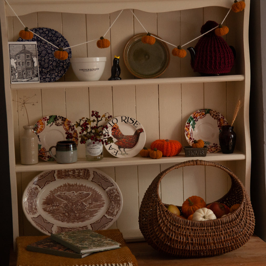 how to create a hygge kitchen on a budget, cosy kitchen, vintage dresser, bramble and fox, uk, hygge, shop, gifts