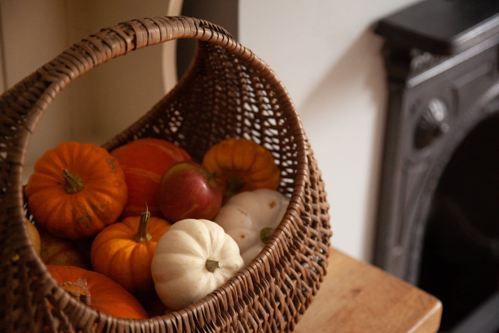 how to create a hygge kitchen on a budget, cosy kitchen, bramble and fox, pumpkins basket, uk, hygge, shop, gifts