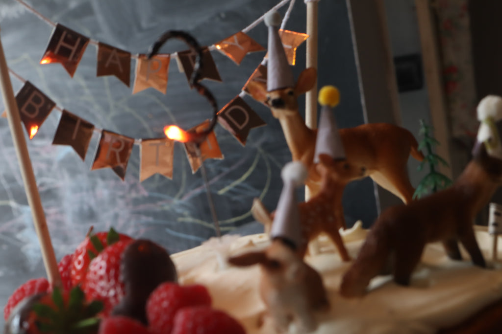 how to create a hygge kitchen on a budget, cosy kitchen, woodland birthday cake, bramble and fox, uk, hygge, shop, gifts