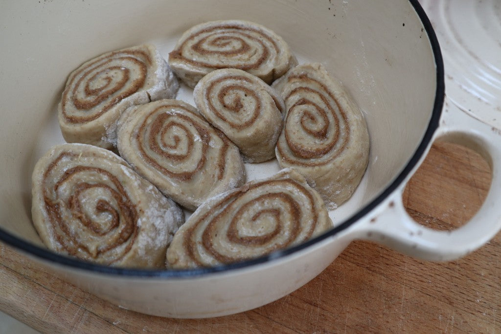 cinnamon rolls casserole dish, pumpkin spice rolls casserole dish, sourdough, bramble and fox, uk hygge lifestyle shop