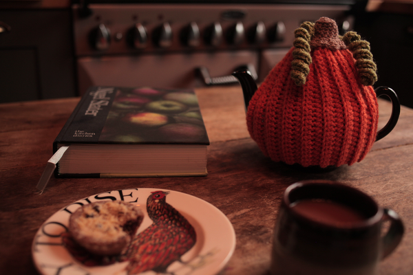 """alt=""""tablescape of pumpkin tea cosy with Nigel Slater book and Emma Bridgewater plate. From Bramble and Fox UK hygge home blog"""""""