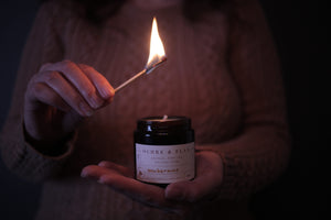 Ochre and Flax Exuberance pure soy wax candle. Hand poured in Devon by Jo Dymock