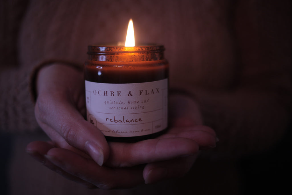 Ochre and Flax Rebalance pure soy wax candle. Hand poured in Devon by Jo Dymock