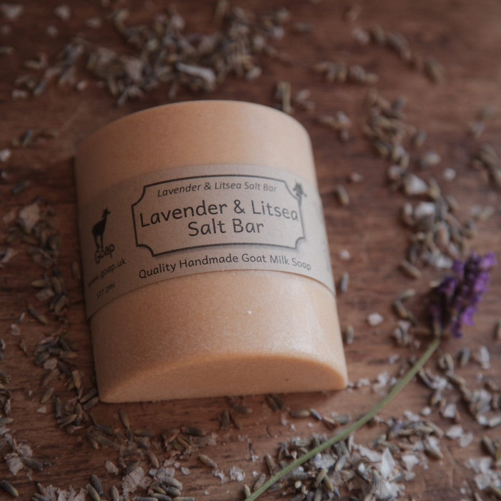 Lavender and Litsea Goat's Milk Salt Bar by Goap