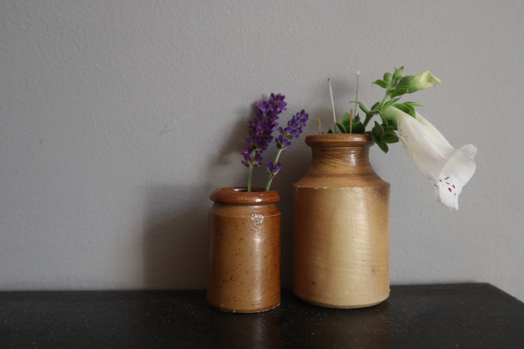 Pair of Small Salt Glazed Stoneware Jars