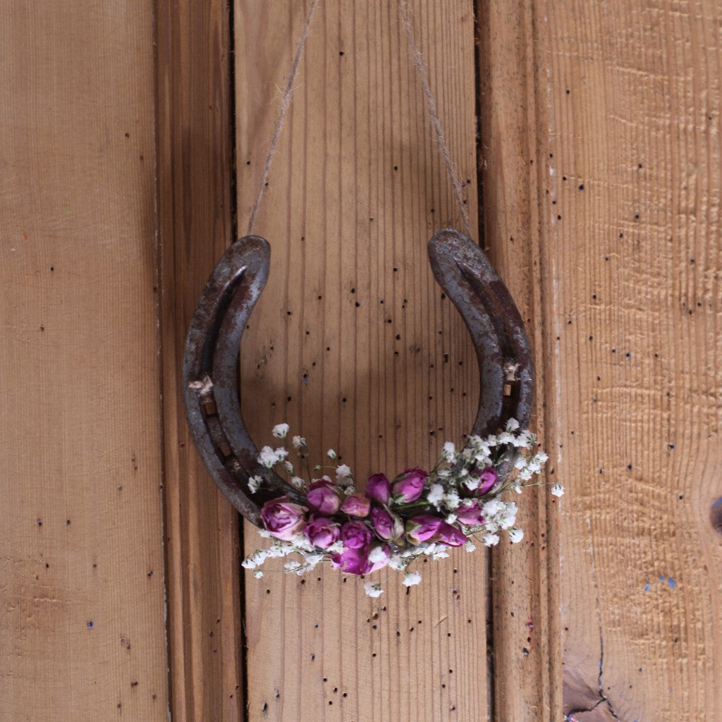 dried flower horseshoe, horseshoe keepsake, wedding horseshoe, floral horseshoe, bramble and fox, hygge gift uk, hygge shop, cottagecore shop uk, engagement gift,  valentine gift, housewarrming gift, handmade