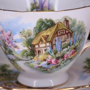 Vintage Royal Vale Country Cottage China Trio
