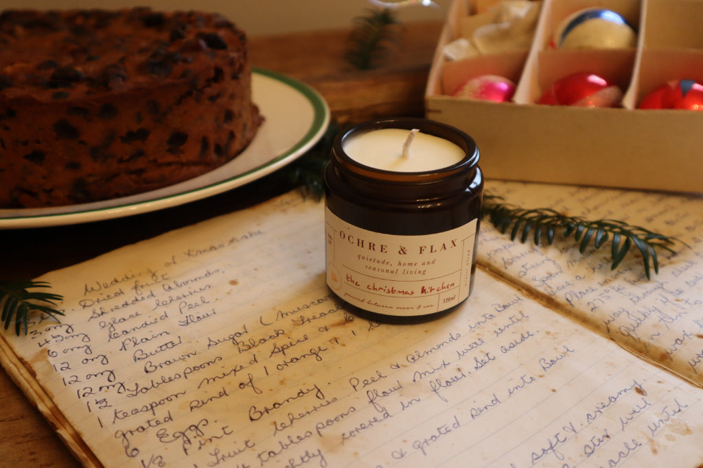 Ochre and Flax Christmas Kitchen Candle, Bramble and Fox, Uk, hygge shop, christmas cake, nostalgia, vintage christmas decorations