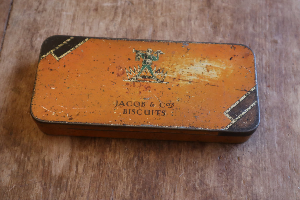 antique jacobs cracker promotional tin, vintage jacobs tin, vintage jacobs cracker tin, bramble and fox, uk, hygge, cottagecore, homeware, shop, staffordshire