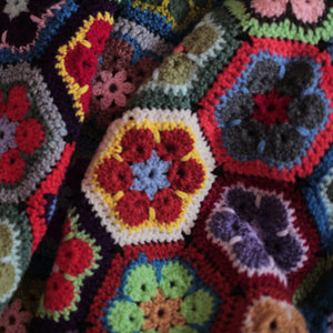 "alt=""crochet granny blanket for camper van life by bramble and fox uk cottagecore decor"""