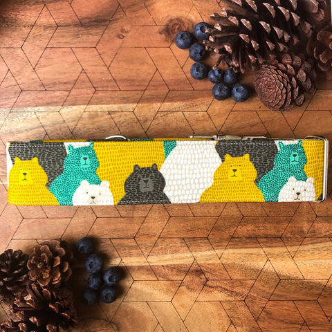 Grizzly Bear Collar - Mint, Mustard and Brown Bear Collar
