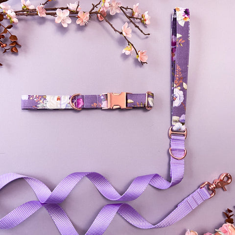 Spring 2020: Mauve lilac dog collar, purple Spring dog collar