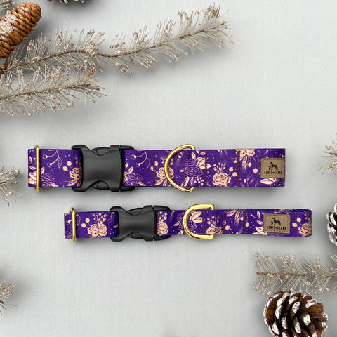 TUNDRA Purple Florals & Golden Laurels. Winter Dog Collar, Water Resistant Dog Collar, Purple Dog Collar. Christmas Floral Dog Collar.