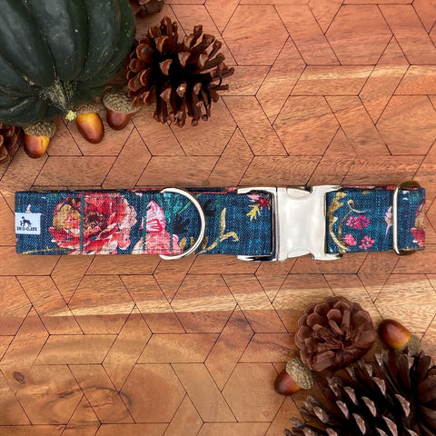 Autumn 2020: Teal Prairie Meadow Dog Collar, Autumn Dog Collar, Fall Dog Collar