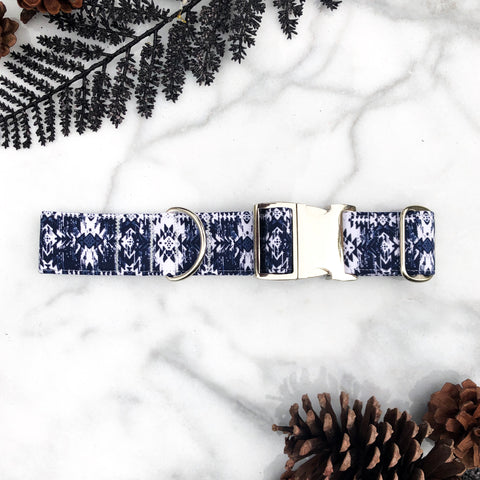 Geometric Navy Blue Tribal Aztec Dog Collar - Fall 2019